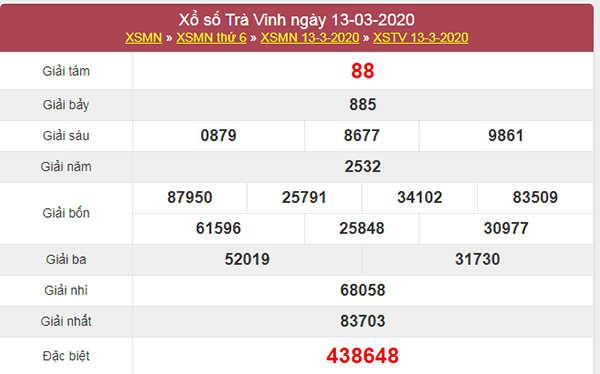 Dự đoán XSTV ngày 20/3/2020 - KQXS Trà Vinh thứ 6