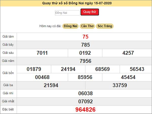 Quay thử KQXS Đồng Nai ngày 15/7/2020