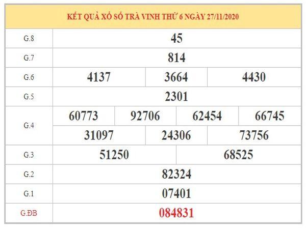 Soi cầu XSTV ngày 4/12/2020 dựa trên kết quả kì trước