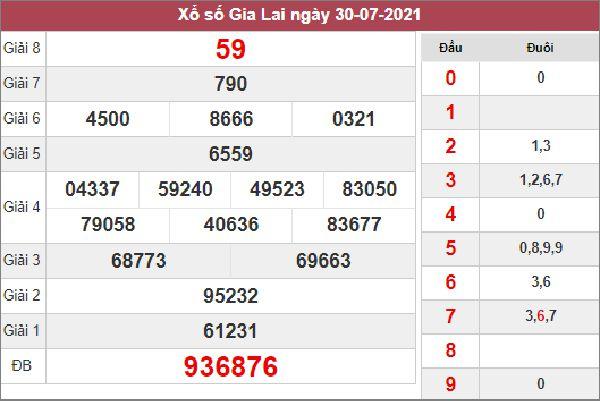 Soi cầu SXGL 6/8/2021 thứ 6 chốt bạch thủ lô Gia Lai